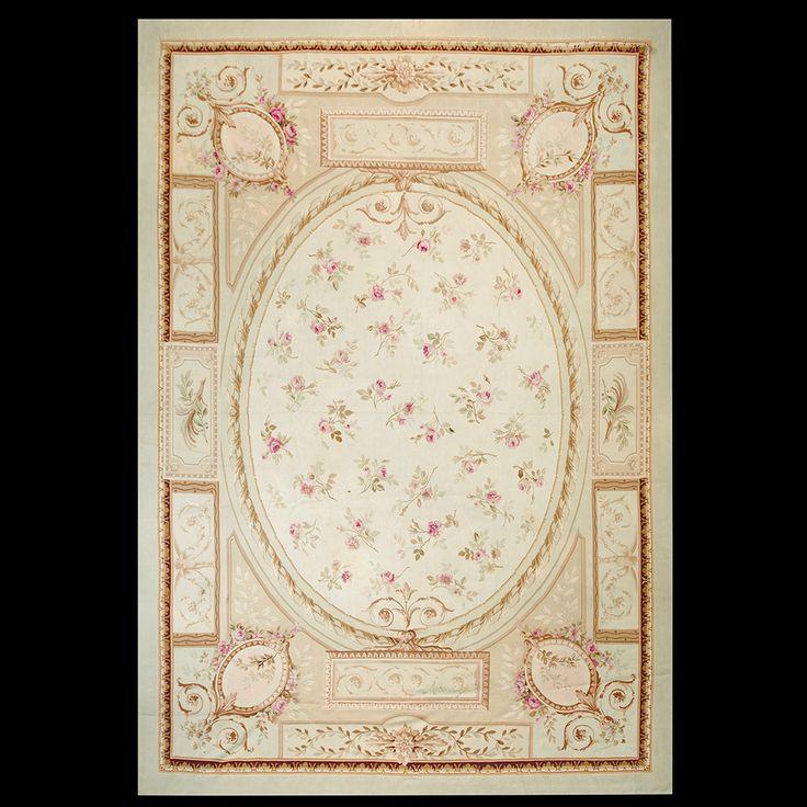 Aubusson Rug - 21932   European 10' 4'' x 15' 3''   Ivory, Origin France, Circa: 1890 #aubusson #rug #antique #nyc