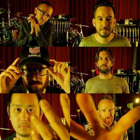 "Chester Bennington, Mike Shinoda, Brad Delson, Rob Bourdon, Joe Hahn and Dave ""Phoenix"" Farrell"