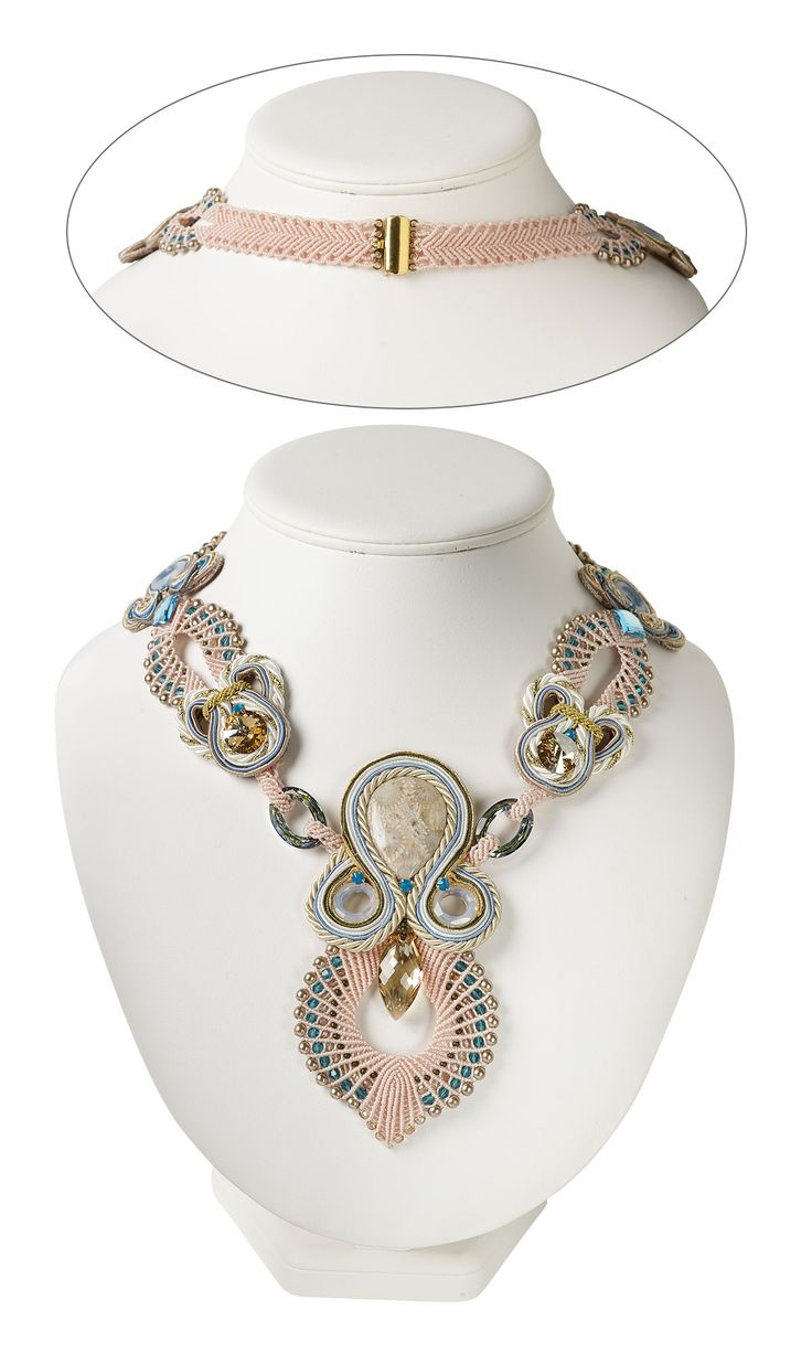 Jewelry Design - Single-Strand Necklace with Swarovski Crystal, Soutache Cord and Gemstone Cabochon - Fire Mountain Gems and Beads