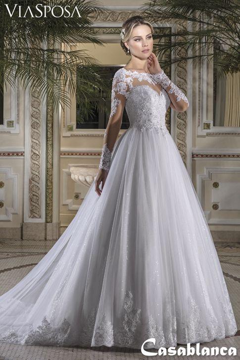 1dd11e7262 Vestido de noiva Via Sposa Coleção Casablanca 18   Vestido rodado ...