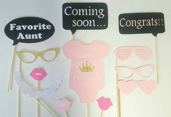 Little Princess 12 Piece Baby Shower Photo Booth Props/ Pink Baby Shower…