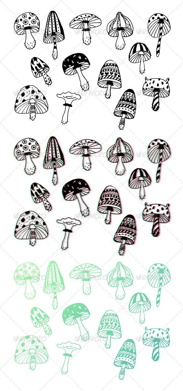 Funny Doodle Mushrooms