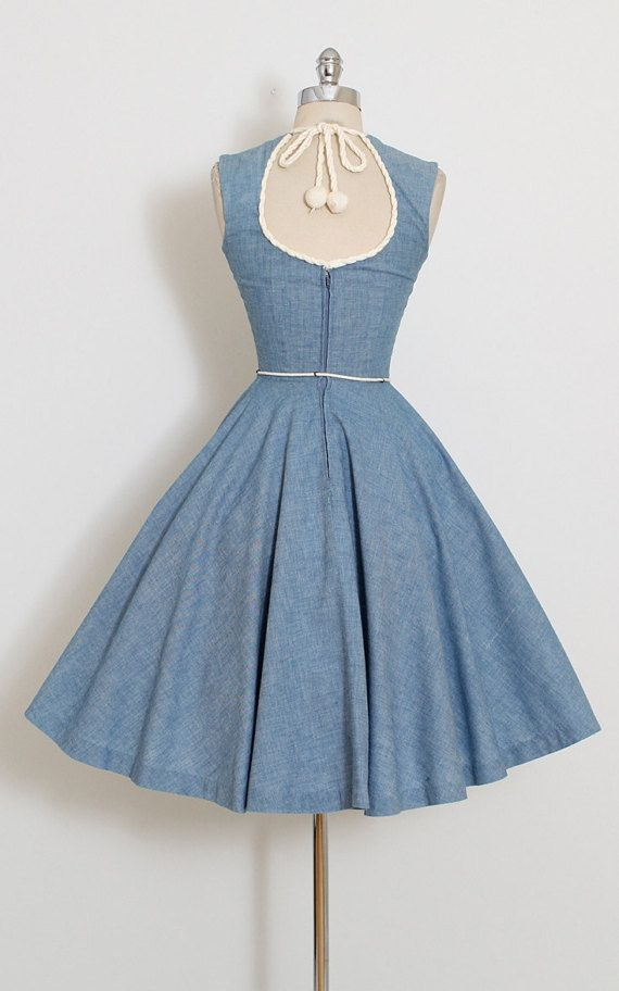 ➳ vintage 1950s dress  * darling nautical cotton denim * soft yarn rope trim * keyhole opening in back with tie * full skirt * detachable belt * metal back zipper  condition | excellent  fits like xs  length 41 bodice length 16 bust 32-34 waist 23-24  ➳ shop http://www.etsy.com/shop/millstreetvintage?ref=si_shop  ➳ shop policies http://www.etsy.com/shop/millstreetvintage/policy  twitter | MillStVintage facebook | millstreetvintage instagram |...