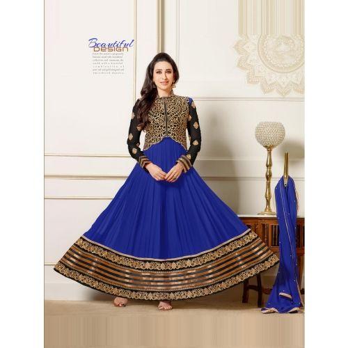 Karishma Kapoor Blue Deigner Floor Length Anarkali Suit