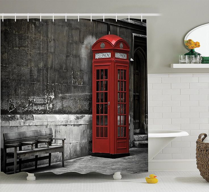 amazoncom london decor shower curtain set by ambesonne illustration of london city - Bathroom Accessories London
