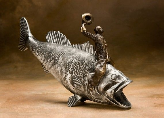 BASS COWBOY by Scot Nelles Studios on Etsy:  Sand cast Aluminum and Bronze, Coin Bank