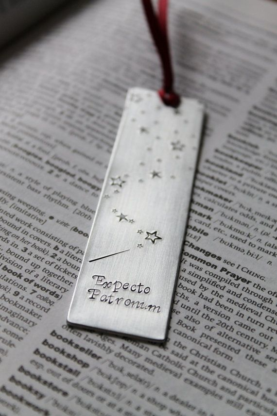 Metal Stamped Personalized Bookmark - Expecto Patronum   Mauve Magpie on Etsy