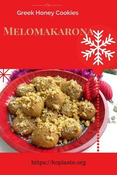 Mandarin Melomakarona are Greek honey cookies, made with olive oil, flavoured with mandarin and drenched in a honey syrup, with lots of walnuts on top. #melomakarona #Greek_cookies #honey_cookies #kopiaste