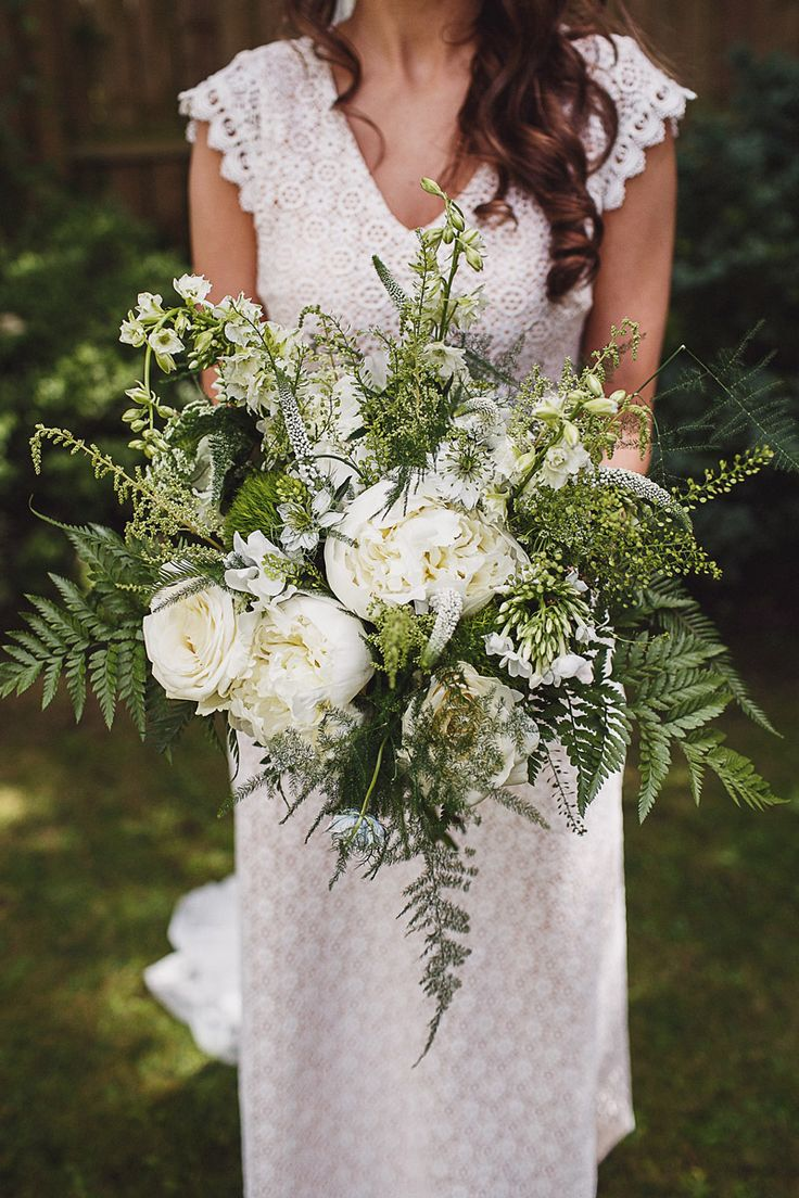 Oversized White & Greenery Bouquet - Daughters of Simone Wedding Dress | Crab & Lobster Wedding York | Anna Hardy Photography