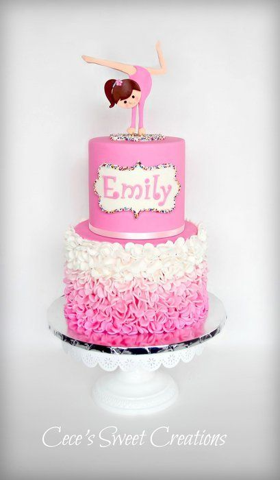 Pink Gymnastics - A simple pink ombre ruffle cake and a gymnastics girl topper. All edible.