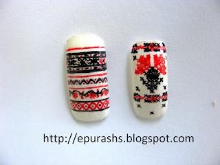 Epurash Handmade: Romanian traditional patterns on nails / Motive traditionale romanesti pe unghii