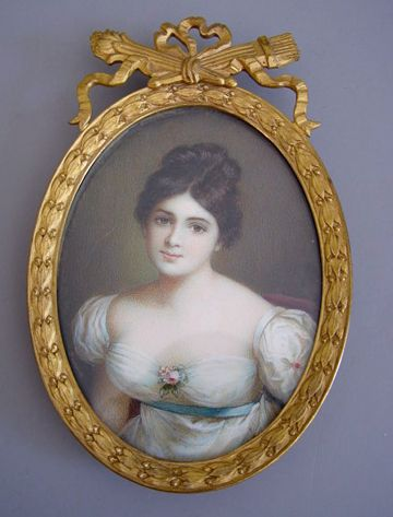 brooch with hand painted portrait on ivory