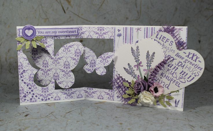 CraftEmotions Romantic Provence collection. Used products; 118040/0109 CraftEmotions Paper stack Romantic Provence, 130501/1106 CraftEmotions clearstamps A6 - heart.