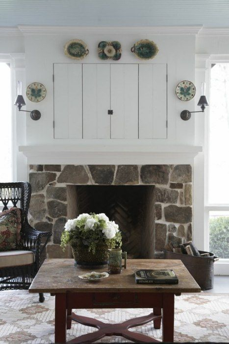 Historical Concepts. Hilltop farm house screened porch fireplace again. I really like the rustic stonework on outside fireplaces.