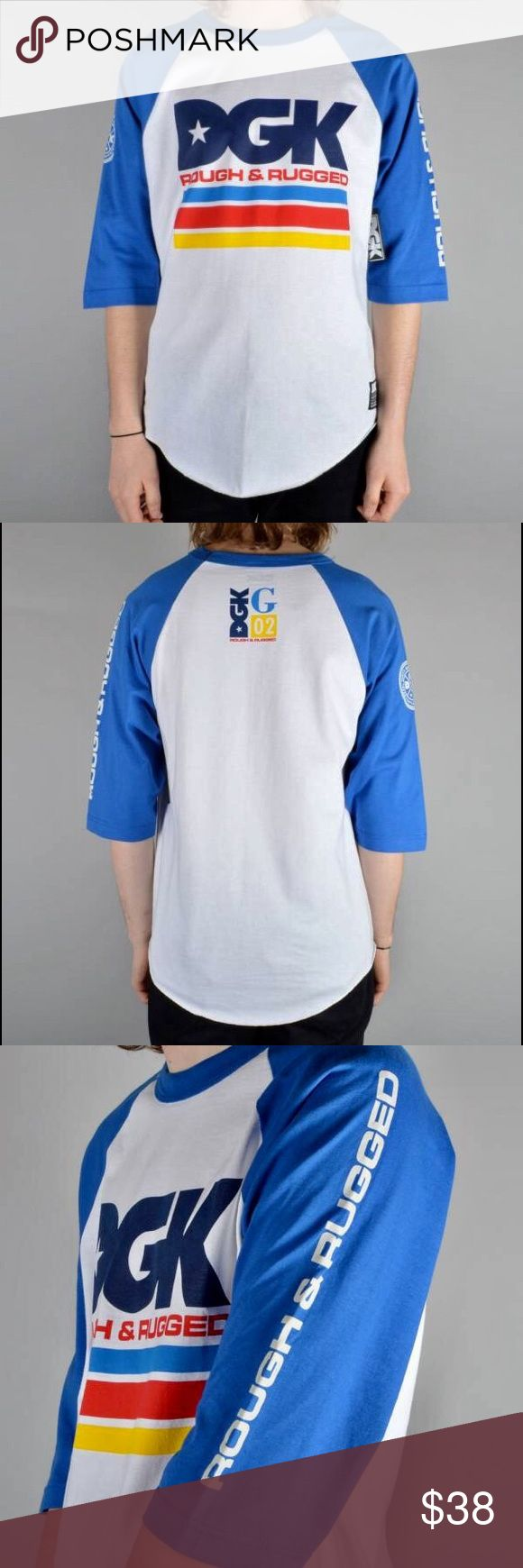 DGK Stacked 3/4 Sleeve Raglan  L/S T-Shirt DGK Stacked 3/4 Sleeve Raglan L/S T-Shirt White / Royal: The DGK Stacked Raglan T-shirt is a Rad new 3/4 length baseball style tee from DGK Skateboards. Featuring a large front chest DGK print (as pictured), printed sleeves and logo screened at back below neck (as pictured), 3/4 sleeves, regular fit, color: white / royal blue,stitched brand tag - hem, fits true to size, excellent condition, made from 100% Cotton, crew neck, tagless collar for…