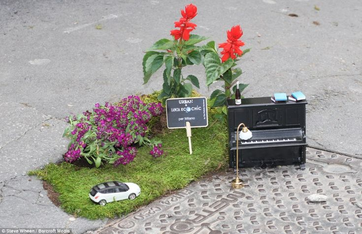 Australian Steve Wheen, 34, who lives in London, has been using flowers and small-scale objects to transform urban potholes for the last three years.  The self-styled 'guerrilla gardener' has created mini gardens all around his home city but has now decided to bring joy to commuters across Europe with his unusual pothole creations. http://restreet.altervista.org/steve-wheen-ripara-le-buche-stradali-con-mini-giardini/