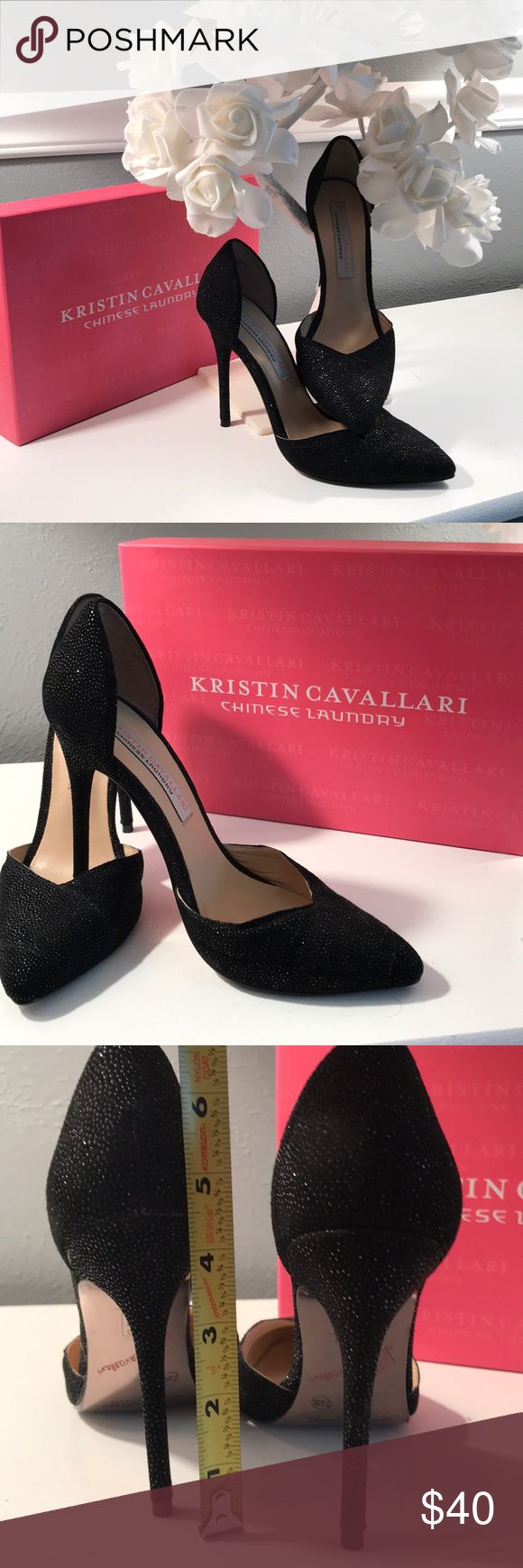 """Chinese Laundry - Kristin Cavallari Black Pumps Beautiful black pumps by Kristin Cavallari for Chinese Laundry. Worn only once so in excellent condition. Suede upper and 4.5"""" heel. Slight glimmer in the suede. Awesome looking shoe. Box included. Comes from a smoke and pet free home. Chinese Laundry Shoes"""