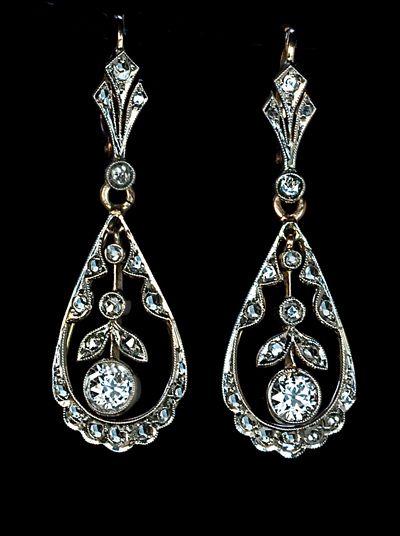 Edwardian Drop Earrings Circa 1910 A Pair Of Antique