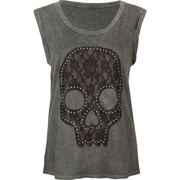 FULL TILT Lace Skull Womens Muscle Tee ($20) liked on ...