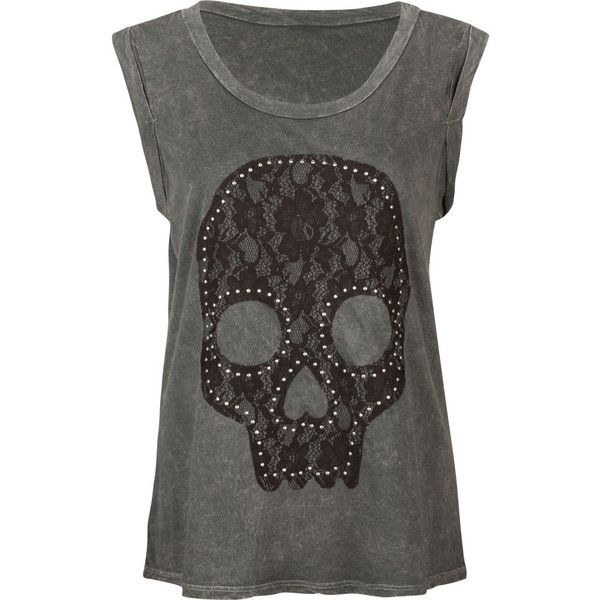 FULL TILT Lace Skull Womens Muscle Tee ($20) ❤ liked on Polyvore