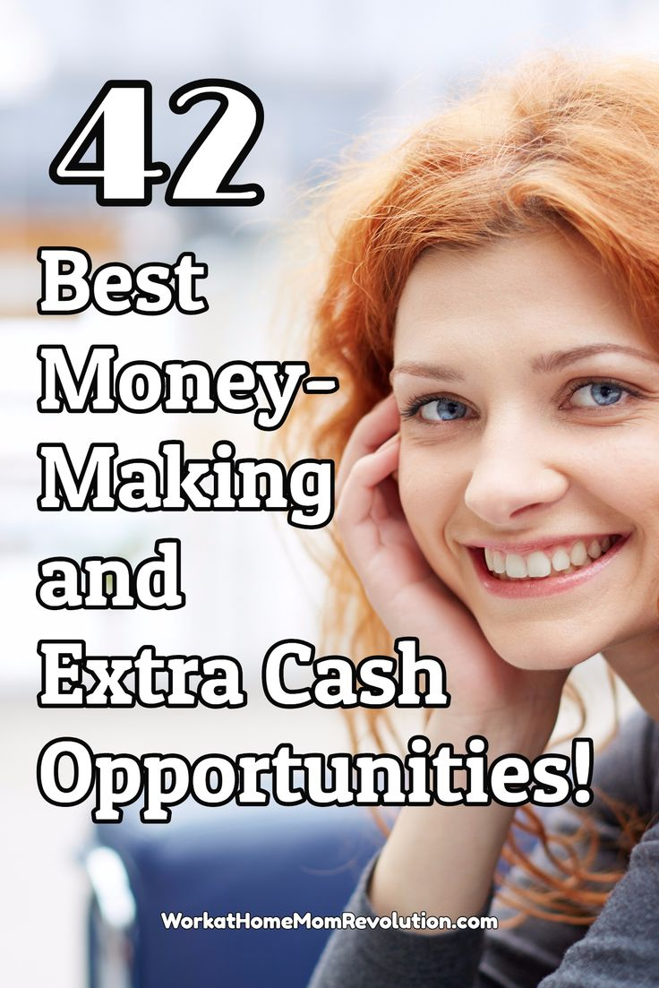 Are you looking for ways to make money from home? Whether it's a work at home job, a home business, a side hustle, or just an extra cash opportunity, these are the 42 best money-making and extra cash opportunities around! You can work from home! Find out how at Work at Home Mom Revolution: https://workathomemomrevolution.com