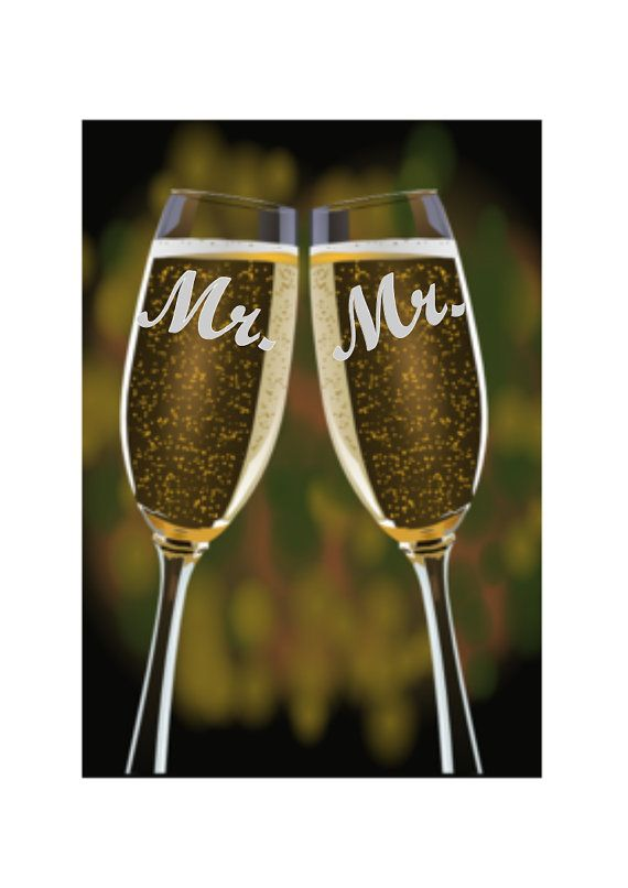 Custom Gay Wedding Toasting Glasses Etched Champagne by TipsyHome