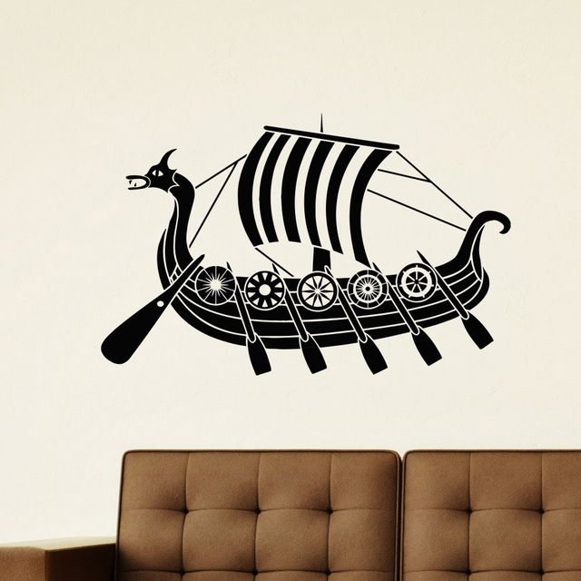 Ship Boat Vinyl Wall Decal ANCIENT VIKING SHIP SEA OCEAN Decor Mural Art Wall Sticker Boys Bedroom Living Room Home Decoration