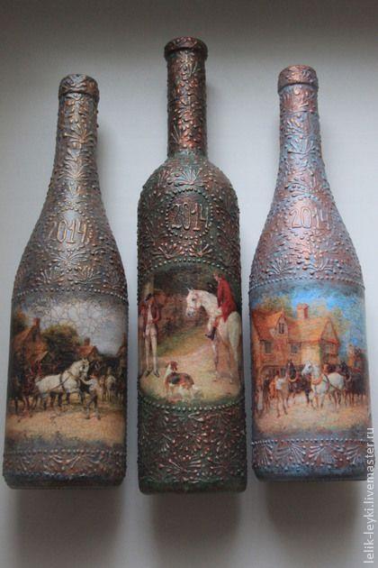 Новый год 2015 ручной работы. Ярмарка Мастеров - ручная работа Декор  бутылки вина. Handmade.