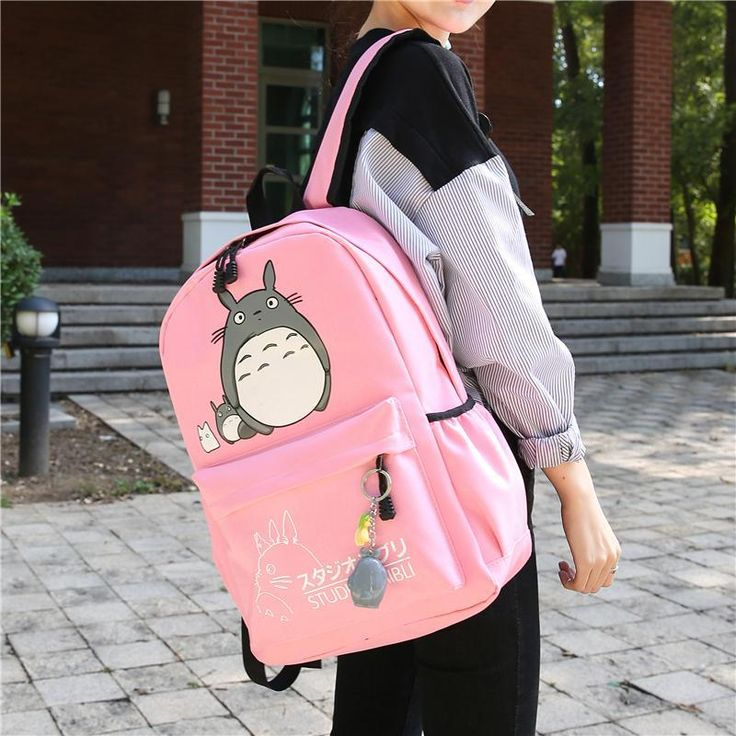 Grey/Pink Totoro Canvas Backpack