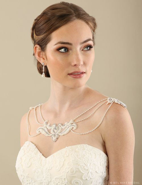 Beautiful shoulder jewelry by Bel Aire Bridal SH207 Available at SIncerely, The Bride Vancouver, Washington Portland Oregon Metro #sincerelythebride #oregonbride #nwbride #washingtonbride