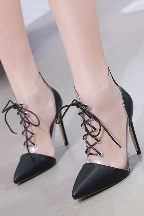 374afb8e66f7d Black Clear Lace Up Pointed Toe Stiletto High Heels  057695   Fashion High  Heels Shoes
