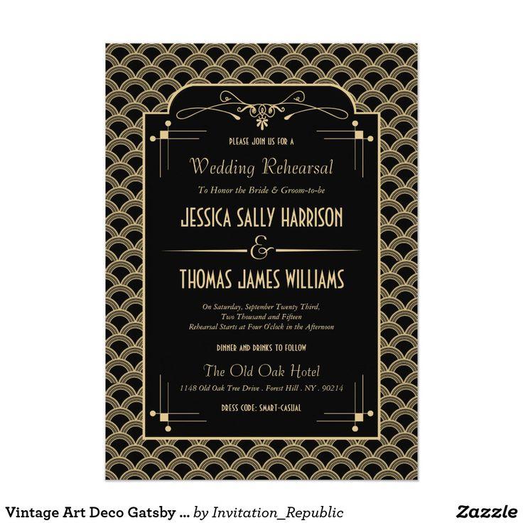 creative wording for rehearsal dinner invitations%0A Vintage Art Deco Gatsby Wedding Rehearsal Dinner Card
