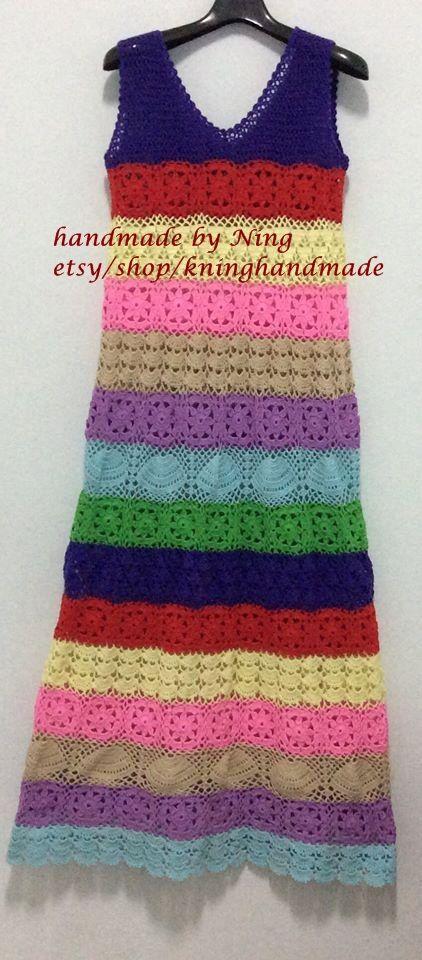 Boho Dress,Summer Crochet Dress/Multicolor crochet dress,Spring , , Women…
