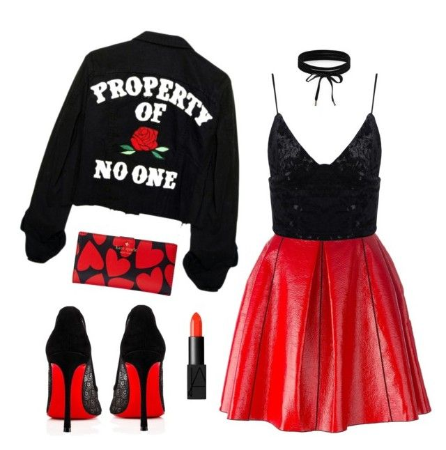 """""""Black & Red ♥❤"""" by xanniee on Polyvore featuring Marc Jacobs, Boohoo, NARS Cosmetics, Christian Louboutin and Kate Spade"""