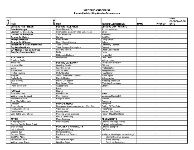 wedding ceremony checklist   Wedding Checklist - Excel Templates.xls