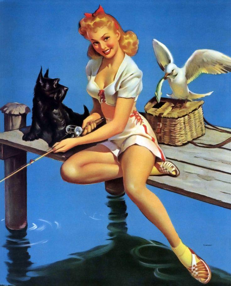 Gil Elvgren 1941 vintage pin-up girl fishing with her Scottie dog