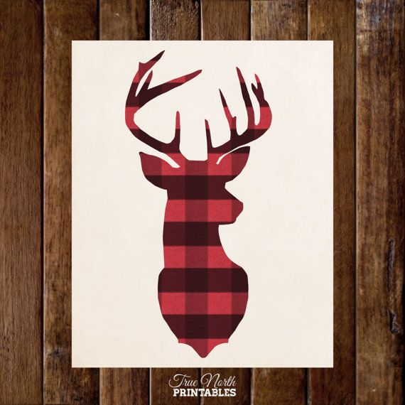 Red Country Wall Decor : Deer head antler in buffalo plaid woodland buck wall art
