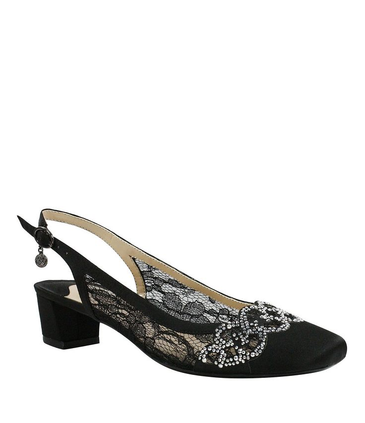 J Renee Faleece Lace and Satin Slingback Pumps #Dillards