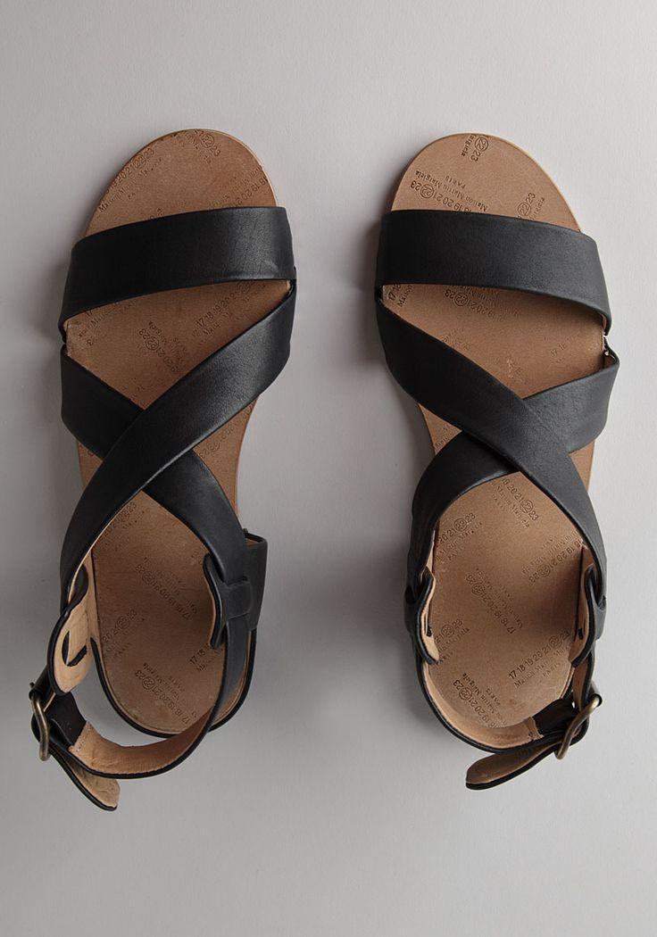MAISON MARTIN MARGIELA LINE 22 : Criss Crosses Sandals, Crisscross Sandals, Black Sandals, Cute Sandals, Black Leather Sandals, Black Sands, Minimalist Sandals, 22 Sandals, Maison Martin Margiela