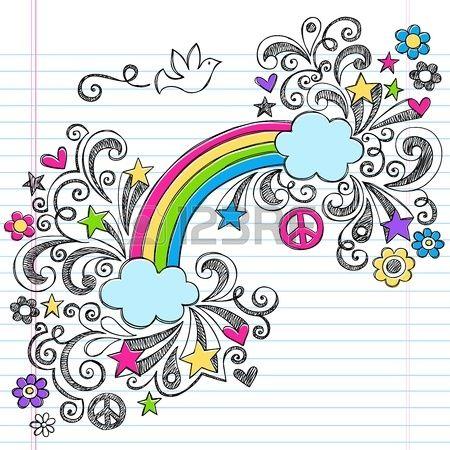 Paloma de la paz del arco iris y Sketchy Doodles Volver a cuaderno escolar dibujado a mano ilustraci Foto de archivo