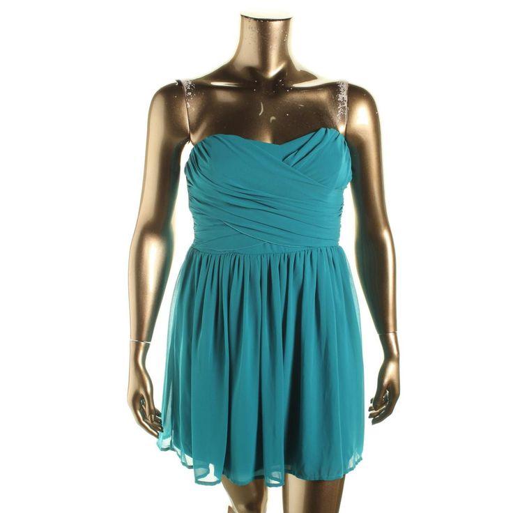 BCX Womens Juniors Chiffon Pleated Cocktail Dress