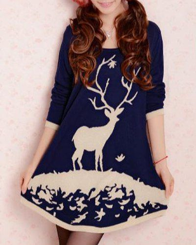 Fresh Style Scoop Neck Cartoon Deer Print Ugly Christmas Sweater Dress For Women