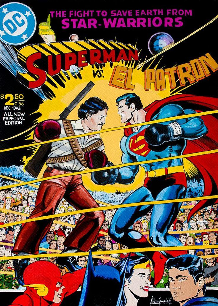 El artista paisa que pone a Pablo Escobar a darse en la jeta con Superman