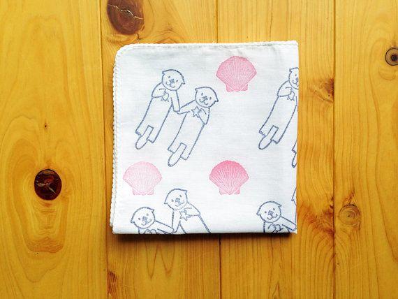 happy otter handkerchief. japanese tenugui hand towel. pure cotton baby wipe. hand stamped body cloth.  birthday baby shower gifts