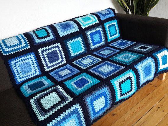 Blue Crochet Blanket Blue Afghan Blanket Blue Crochet Afghan by PhoenixSmiles | Etsy