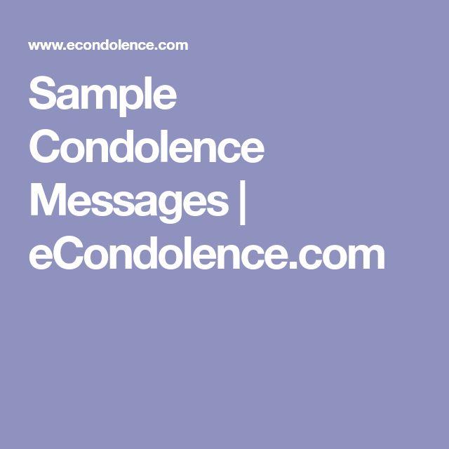 Sample Condolence Messages | eCondolence.com