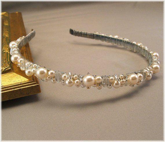 Bridal Tiara Wedding Hair Accessories Head Band by Handwired