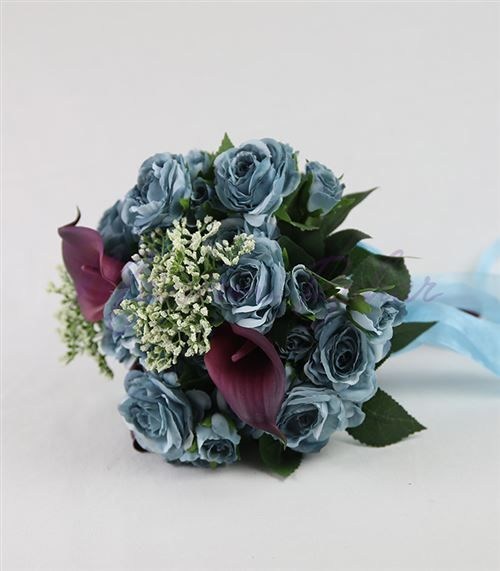 Gelin Çiçeği Mavi Gül Mor Gala
