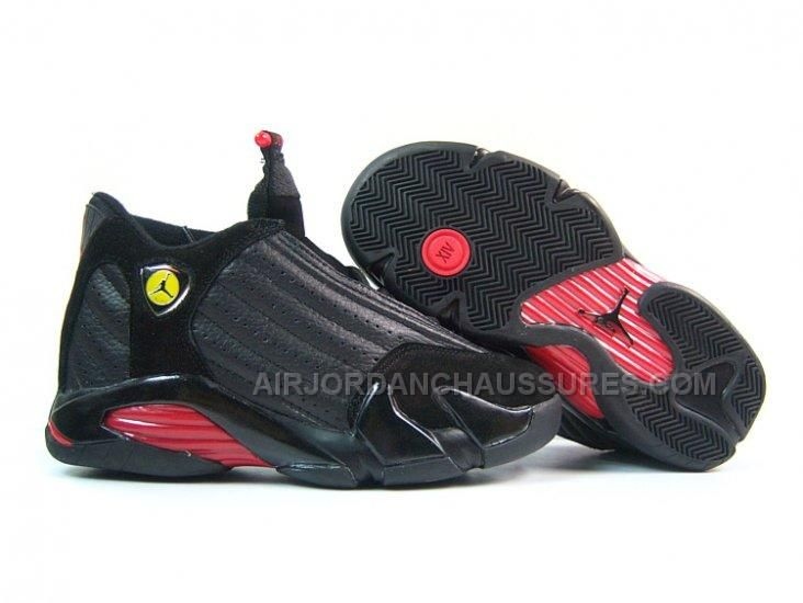2012 Top A Women Nike Jordan 14 Authentic Leather Shoes (Black/Red)