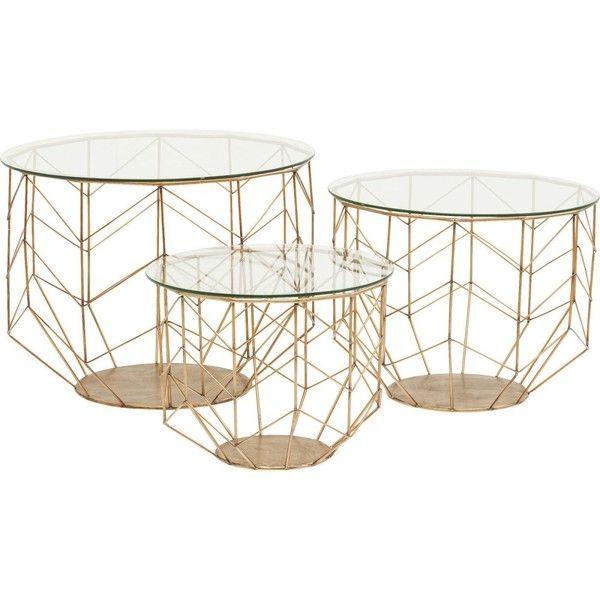 Sada 3 konferenčných stolíkov v dekore mosadze Kare Design Wire Grid